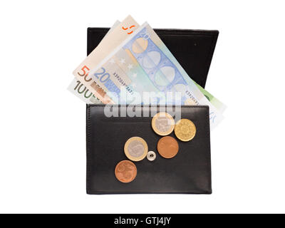 Open black leather wallet with euro banknotes and coins isolated on white - Stock Photo