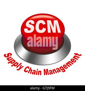 3d illustration of scm ( supply chain management ) button isolated white background - Stock Photo