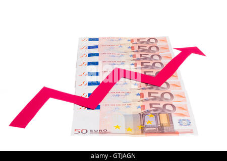 Concept of increase of euro value with red arrow growing over notes row isolated on white background - Stock Photo