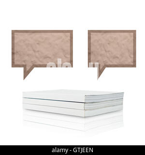 Plasticine stick on blank book  background, isolated - Stock Photo