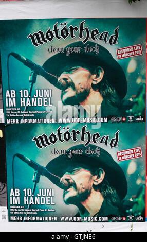 Plakat mit Werbung fuer eine CD von Motorhead mit Lemmy Kilmister, Berlin. - Stock Photo
