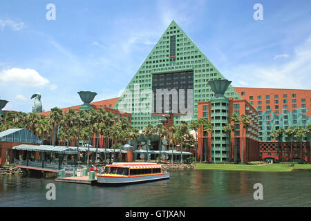 Orlando, Florida. May 21st, 2008. The Walt Disney World Dolphin Hotel with one of the Friendship Boats docked. - Stock Photo