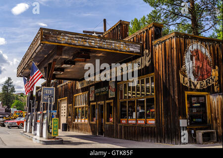 General store and Chevron Gas Station in Winthrop , Washington State, USA - Stock Photo