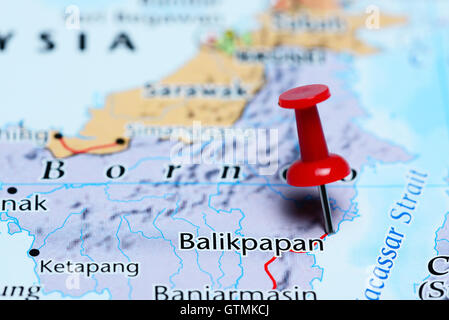 Balikpapan pinned on a map of Indonesia - Stock Photo