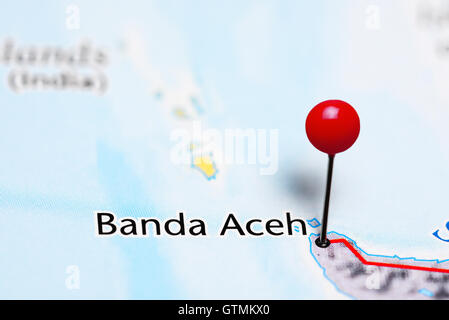 Banda Aceh pinned on a map of Indonesia - Stock Photo