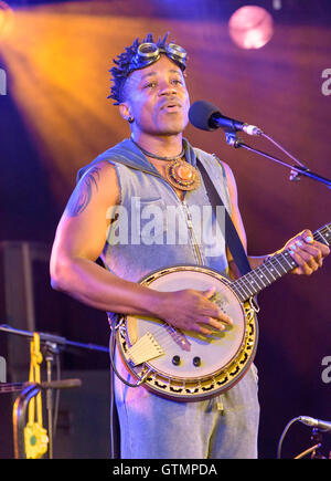 Blick Bassy performing at the WOMAD Festival, Charlton Park, Malmesbury, Wiltshire, England, July 29, 2016 - Stock Photo