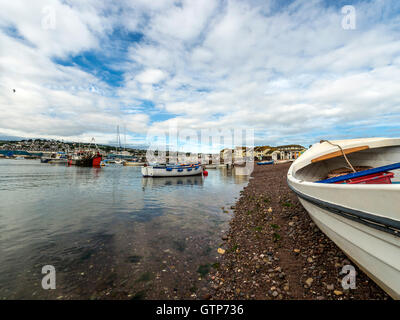 Landscape depicting the seashore along the River Teign at Teignmouth, with views of Shaldon Bridge / Teignmouth - Stock Photo