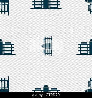 Business center icon sign. Seamless pattern with geometric texture. Vector - Stock Photo