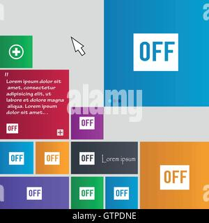 OFF icon sign. buttons. Modern interface website buttons with cursor pointer. Vector - Stock Photo