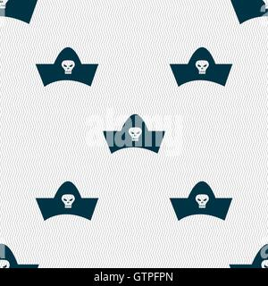 black pirate hat with skull and crossbones icon sign. Seamless pattern with geometric texture. Vector - Stock Photo