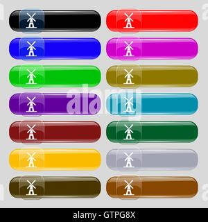 Mill icon sign. Set from fourteen multi-colored glass buttons with place for text. Vector - Stock Photo
