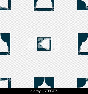 Window curtains icon sign. Seamless pattern with geometric texture. Vector - Stock Photo