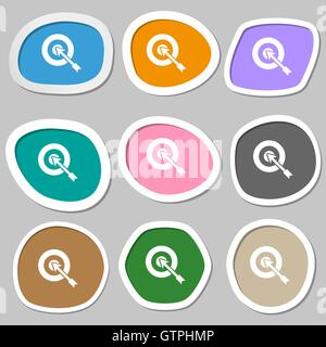 target icon symbols. Multicolored paper stickers. Vector - Stock Photo