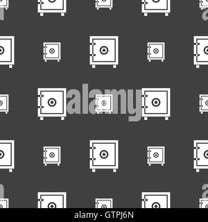 Safe money icon sign. Seamless pattern on a gray background. Vector - Stock Photo