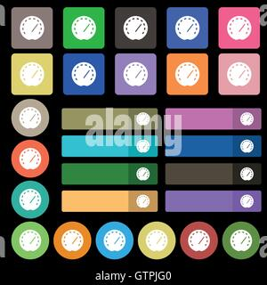 speedometer Icon sign. Set from twenty seven multicolored flat buttons. Vector - Stock Photo