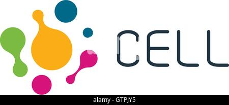 Cell vector logo. Isolated unusual chemistry icon. Colorful logo template. - Stock Photo