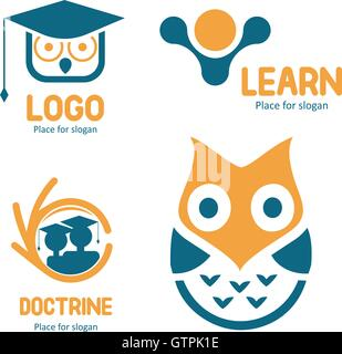 Isolated abstract studying vector logo set. Cartoon owl character logotypes collection. Education icons. School - Stock Photo
