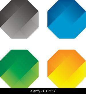 Isolated abstract polygonal vector logo set. Colorful hexagons on the white background collection. Simple flat geometric - Stock Photo