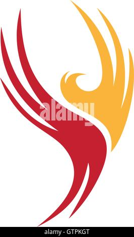 Firebird vector unusual logo. Phoenix elegant logo. Firebird icon isolated. Unusual phoenix, beauty firebird, abstract - Stock Photo