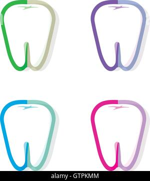 Isolated colorful tooth contour vector logo set. Tooth hygiene logotype collection on the white background. Dental implants icon