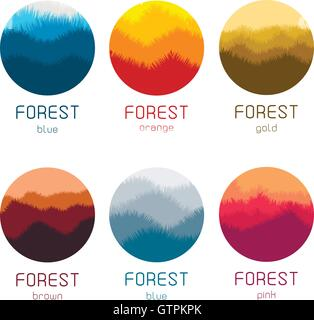 Isolated round forest vector logo set. Gold forest silhouette logotypes collection. - Stock Photo