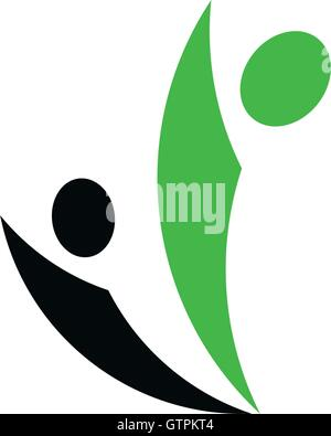 Isolated abstract green and black people vector logo. Human silhouette logotype. Minimalistic community illustration. - Stock Photo