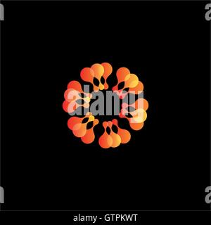 Isolated abstract orange flower vector logo. Sun illustration. - Stock Photo