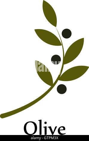 Isolated Green Vector Olive Branch Logo Olive Oil Sign Symbol Of