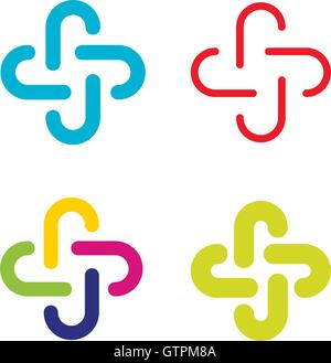 Isolated abstract colorful cross vector logo set. Outlined plus signs collection. Medical icons group. - Stock Photo