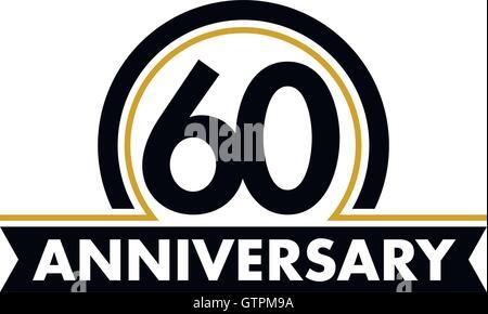 Template logo 60 years anniversary vector illustration for 60 wedding anniversary symbol