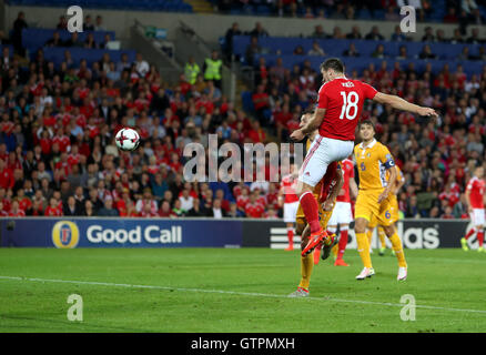 Wale's Sam Vokes scores his side's first goal of the game during the 2018 FIFA World Cup Qualifying, Group D match - Stock Photo