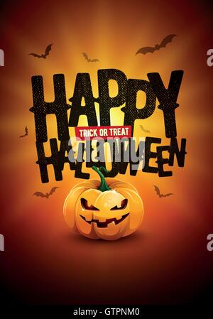 Vector Happy Halloween poster design with Trick or Treat text and pumpkin illustration. - Stock Photo