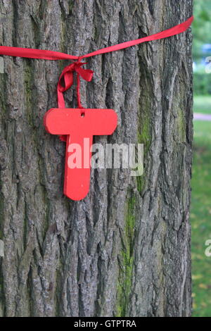 A ribbon tied around a tree stock photo royalty free for Red ribbon around tree