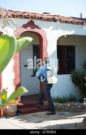 San Diego, California, USA 9th September 2016 Robert Murillo sprays a residence with the pesticide Pyrenone 25-5. - Stock Photo