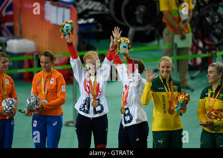 Rio de Janeiro, Brazil 09SEP16:  Sophie Thornhill of Great Britian cheers her Paralympic gold medal in the women's - Stock Photo
