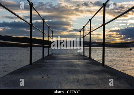 Sunset at a bridge in Drobak, Norway - Stock Photo