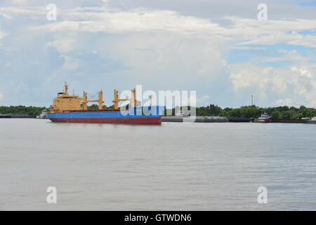 A Tanker on the  Mississippi river near New Orleans in Louisiana. - Stock Photo