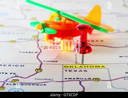 TEXAS AND OKLAHOMA USA State Map BARTHOLOMEW Old Vintage - Oklahoma usa map