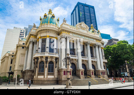 RIO DE JANEIRO - FEBRUARY 26, 2016: The Municipal Theatre, built in an Art Nouveau style inspired by the Paris Opera. - Stock Photo