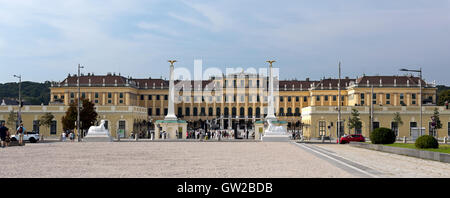 View of the baroque Schonbrunn Palace, a former imperial summer residence located in Vienna, Austria. - Stock Photo