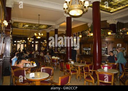 Cafe Tortoni, in May avenue, Buenos Aires, Argentina.  CafŽ Tortoni is the oldest coffee most famous Buenos Aires. - Stock Photo