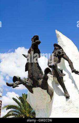 Statue of Don Quixote de la Mancha and Rocinante, of Miguel de Cervantes, on Avenida 9 de Julio in Buenos Aires, - Stock Photo