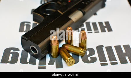 Crime Hijacking and Auto Theft concept. Handgun with bullets gun violent crime, assault. Shooting. - Stock Photo