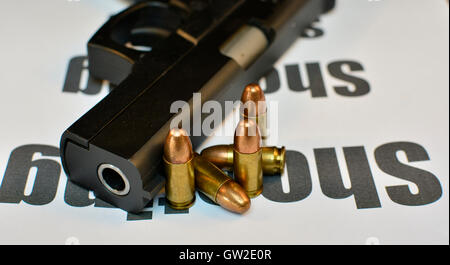 Crime Shooting concept. Handgun with bullets gun violent crime, assault. Shooting. - Stock Photo
