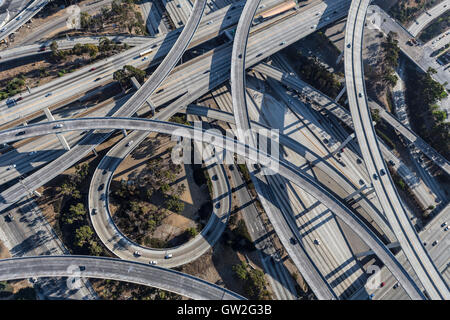 Los Angeles Harbor and Century freeways interchange ramps and bridges aerial. - Stock Photo