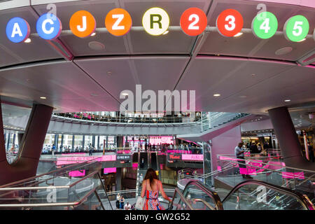 Lower Manhattan New York City NYC NY Financial District Fulton Center MTA subway transit center hub retail complex - Stock Photo