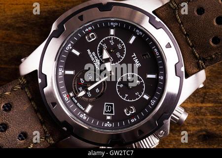 Gents analogue watch close up - Stock Photo