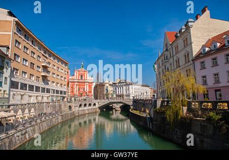 Three bridges, Ljubljana, Slovenia - Stock Photo