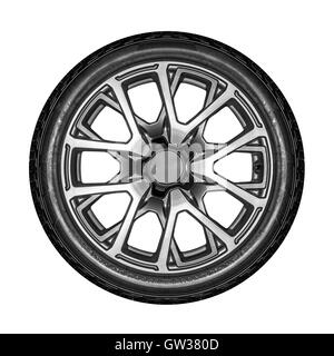unbranded car alloy wheel isolated on a white background stock photo
