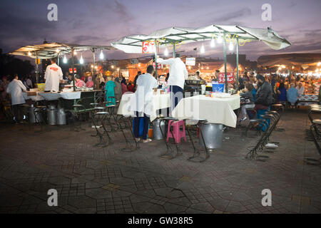 Jamaa el Fna Square, Marrakesh, Morocco, twilight, fast food stalls african style - Stock Photo